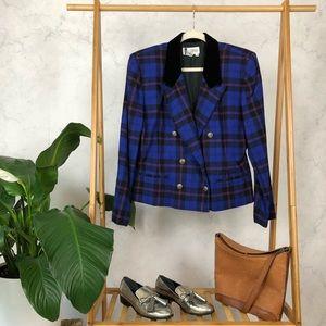 Vintage 80s Blue Plaid Velvet Wool Blazer